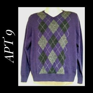 Men's APT 9 V-Neck Purple Argule Sweater Large